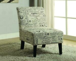 Accent Chair French Script Fabric with Wooden Legs - Beige Beige
