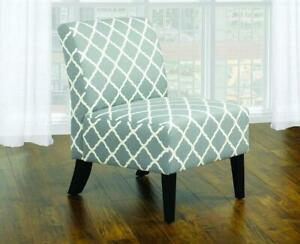Accent Chair Quatrefoil Design Fabric with Wooden Legs - Grey | Green Grey