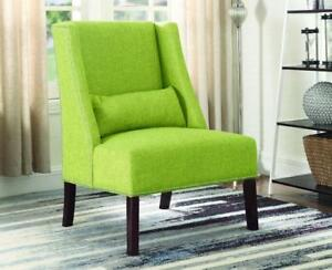 Accent Chair Fabric with Nailhead Details and Accent Pillow - Green Green