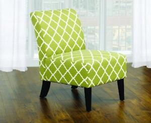 Accent Chair Quatrefoil Design Fabric with Wooden Legs - Grey | Green Green