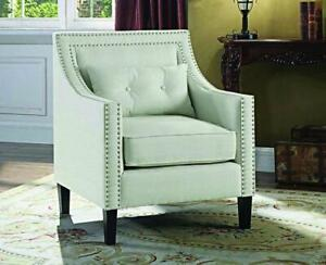 Accent Chair Fabric with Nailhead Details and Accent Pillow - Ivory Ivory