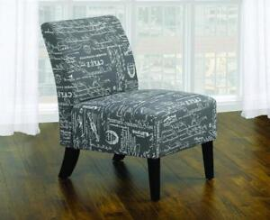 Accent Chair French Script Fabric with Wooden Legs - Grey Grey