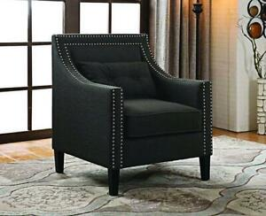 Accent Chair Fabric with Nailhead Details and Accent Pillow - Charcoal Charcoal
