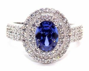 Sterling Silver Tanzanite And Diamond 2ct Double Cluster Ring (925)