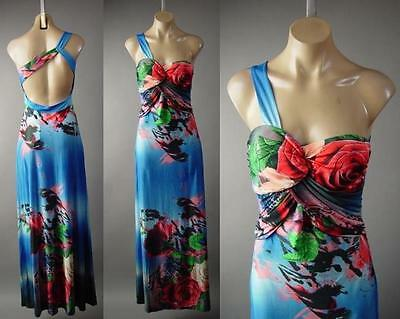 Elegant Rose Floral One Shoulder Goddess Party Blue Gown Long 228 mv Dress S M L - Party Blue Rose