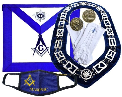 MASONIC COLLAR  Master Mason BLUE Lodge + GLOVES + COIN + APRON + MASK Package
