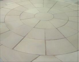Large 3.6m mint fossil sawn /shotblasted sandstone Patio circle with Squaring off Kit Paving Slabs