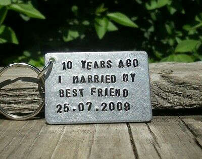 Personalized Keychain 10th Wedding Anniversary Gifts For Men Her Aluminium Tin  ()