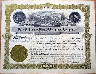 1928 Mining Stock Certificate  Butte   Coeur Dalene Development Company