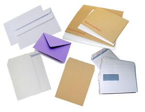 DL-C4-C5-C6-PAPER-BOARD-BACK-ENVELOPES-BOOK-MAILERS-BROWN-WHITE-PLAIN-WINDOW