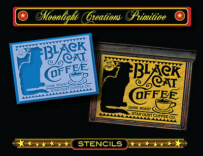 Halloween Stencil~Black Cat Coffee Sign~Vintage Looking sign ~ Man in the - Halloween Man In Black