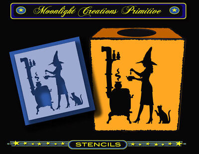 Stencil~TEA BAG WITCH~Classic Halloween 1900s Style Black Cat Pot Belly Stove - Halloween Stencils Cat