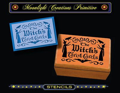Stencil~Halloween~WITCH'S TAROT CARDS~Twin Witches Crows Magic Smoke and Bat - Halloween Bats Stencils