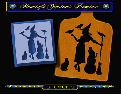 STENCIL~FAMILY GATHERING~Halloween Witch 2 Black Cats & 3 Crows Classic Looking (3 Black Cats Halloween)