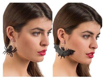 Schwarz Halloween Spinne Ohrringe Fledermaus Damen Anschnallen Kostüm Gotik - Ohrringe Damen Kostüm