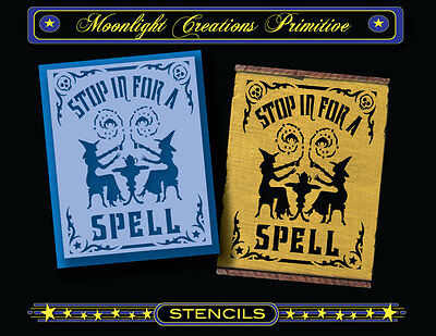 Halloween Stencil~STOP IN FOR A SPELL~Magical Witches Hocus Pocus Skulls Stars  - Witches Spells For Halloween