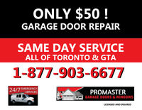 GARAGE DOOR REPAIRS DONE SAME DAY - BROKEN SPRINGS FIXED FAST
