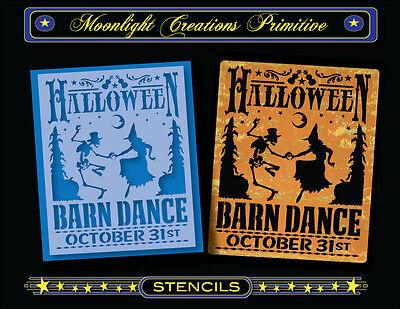 Stencil~HALLOWEEN BARN DANCE~Vintage Witch Skeleton Pumpkin Corn Stalks - Halloween Pumpkin Stencils Witch