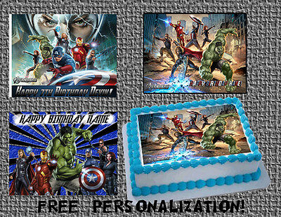 Edible Birthday Cake Decorations (The AVENGERS Edible Birthday cake Decoration topper picture for icing sheet)