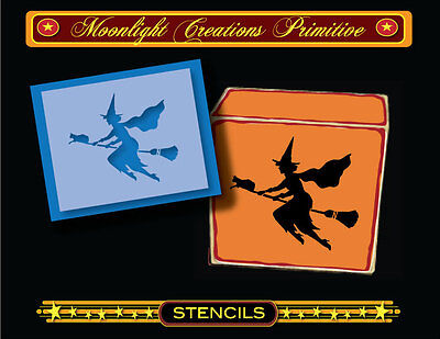 Halloween Stencil~Vintage~FALL FLY BY~Witch and Black Cat Night Flying On - Halloween Stencil