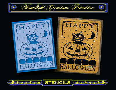 Happy Halloween Stencil (Halloween Stencil~Vintage Style~HAPPY HALLOWEEN 2015~Pumpkin Black Cat moon)