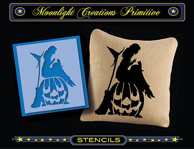 Halloween Pumpkin Stencils Cats (Halloween Stencil~Vintage~PUMPKIN SITTER~Classic Pretty Witch Black Cat)