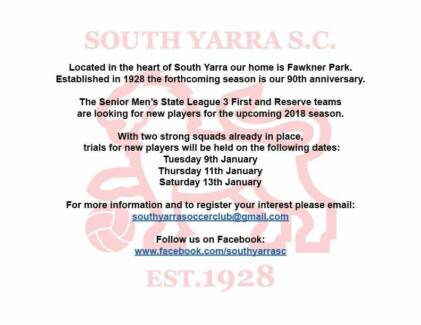 Football - Soccer players wanted - Mens senior - South Yarra SC