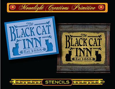 Halloween Stencil~BLACK CAT INN~Vintage Style~Salem Inn Black Cats & Witches