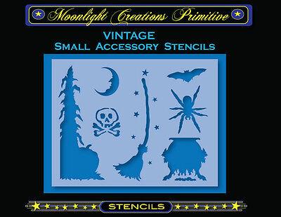 Primitive Stencil~HALLOWEEN ACCESSORY STENCILS 1300~Skull Spider Bat Moon Broom](Halloween Spider Stencil)