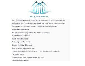 STRUCTURAL ENGINEER (P. Eng.) AVAILABLE IN HAMILTON AREA