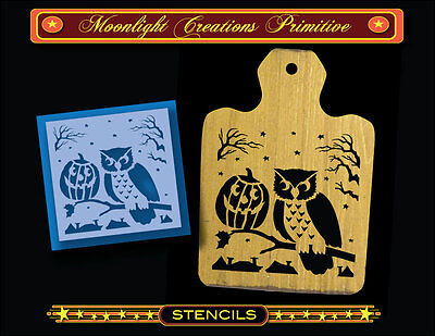 Halloween Owl Stencil (Halloween Stencil~HALLOWEEN PUMPKIN & OWL~Vintage Style-Classic Old Style)