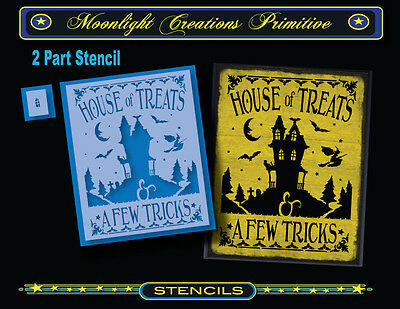 Halloween Stencil~Vintage~HOUSE OF TREATS~Witch Bats Haunted House Black Cat