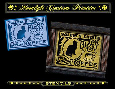 Halloween Stencil~SALEM'S CHOICE BLACK CAT COFFEE~Victorian Style of the 1890s (Halloween 1890s)