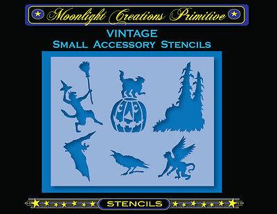 Halloween Stencil~Vintage~HALLOWEEN ACCESSORY STENCILS 1400~Black Cat Crow Bat