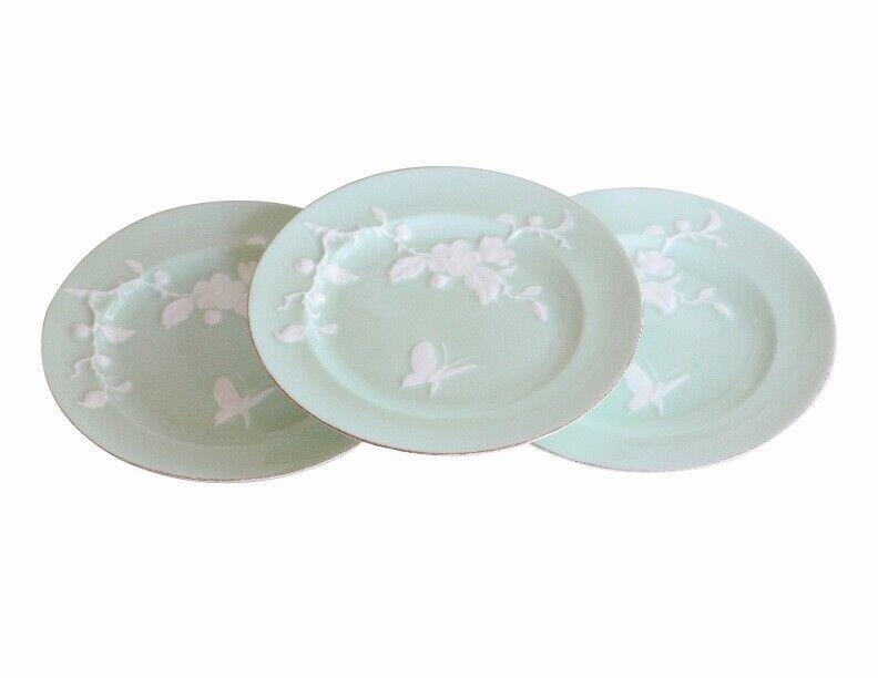 Edwin J. D. Bodley c.1876 Porcelain Relief Molded Celadon Gilt Plates VERY RARE