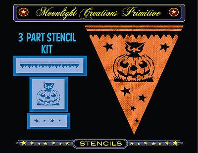 Halloween Stencil~Vintage~OWL & PUMPKIN STENCIL KIT~3 Part Stencil Kit - Halloween Pumpkin Stencil Owl