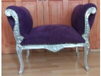 Velvet Window Seat Ottoman Antique Shabby chic Carved Chaise Bench Bedroom Stool