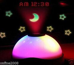 7 Colors LED Change Night Light Magic Projector Backlight Alarm Clock Timer Gift