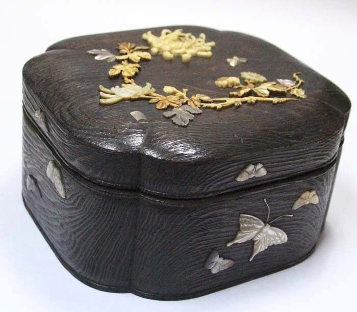 Very antique Japan wooden box mother of pearl butterfly flowers signed Shibayama