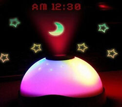 LED 7 Color Change Star Night Light Magic Projector Backlight Alarm Clock