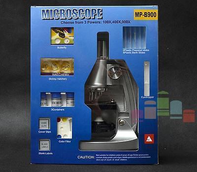 100x 400x 900x Educational Gift Kids Student Toy Microscope Set Box W Light