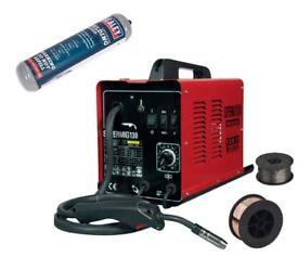 SEALEY SUPERMIG130 WELDER 130A 230V GAS + 0.7KG 0.6MM FLUX WIRE + DISPOSABLE GAS