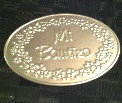 12 Mi Bautizo Embossed Tin Silver Tags For Baptism Favors Or - Baptism Centerpieces