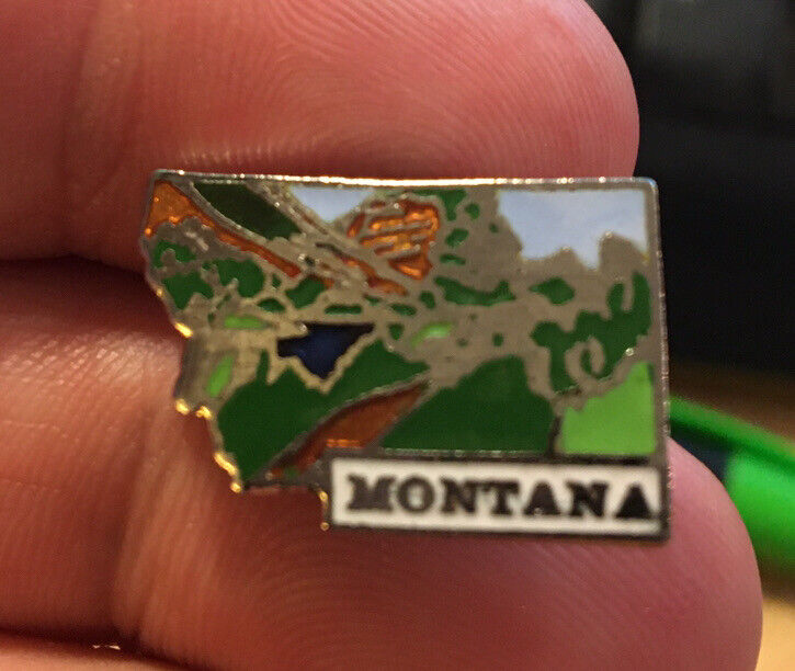 Montana enamel pin NOS vintage 80s hat lapel bag brooch United States souvenir