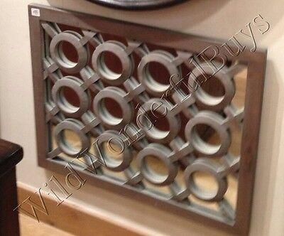 Pottery Barn Lattice Wall Mirror Gray Wash 30L Wood Modern Farmhouse Tile New ()