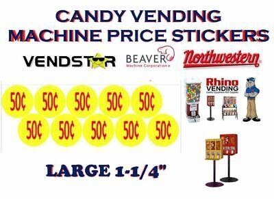 Bulk Vending Label Candy Machine Price Sticker .50 Cent