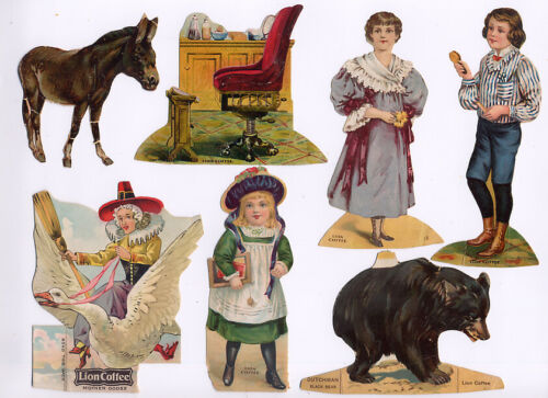Set of SIXTEEN Antique LION COFFEE Trade Cards