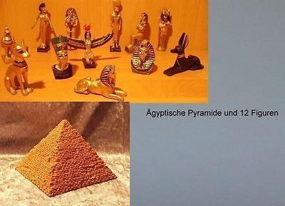 12 ägyptische Figuren + Pyramide Handbemalt  Tutenchamun Nofretete  Deko  NEU