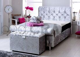 4,6ft crushed velvet bed frame