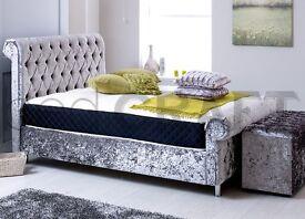 crushed velvet beds frame